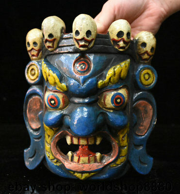 """7.6"""" Old Chinese Lacquerware Painting Carved Demon Devil evil person vizard mask"""