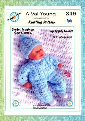 DOLLS KNITTING PATTERN  for 1st Baby Annabell 13 /14 inch Doll 249 by Daisy May