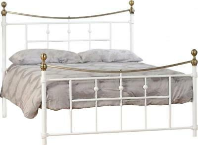 Dakota Cream & Antique Brass Metal Bed Frame - 2 Sizes Available *BRAND NEW*