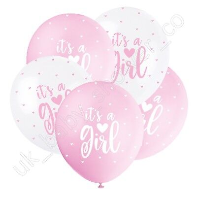 ITS A GIRL PEARLISED BABY SHOWER BALLOONS, Pink Hearts, Party,Decorations 56114