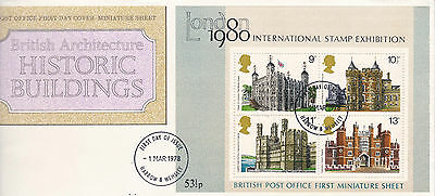 GB: 1978, British Architecture (M/S and sheet stamps) & Horses, FDC
