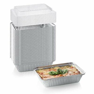 [50 Pack] Heavy Duty Disposable Aluminum Oblong Foil Pans with Lid Covers | 100%