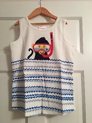 Hanna Andersson Girls White Scuba Monkey Tank Top 140 10y NWT