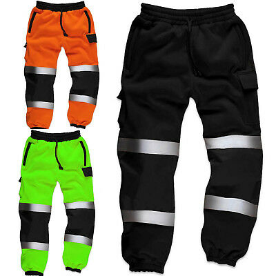 Hi Viz High Visibility Mens Work Trouser Reflective Fleece Safety Worker Joggers