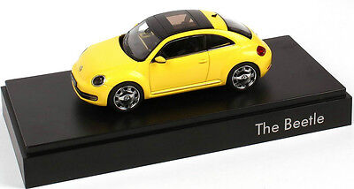 New Genuine Vw Beetle Sunflower Yellow 1:43 Scale Diecast Model Car
