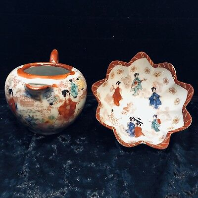 Antique Japanese Porcelain Scalloped Footed Bowl And Pot Hand Painted