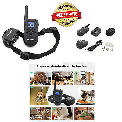 Electric Dog Shock Training Collar Waterproof Rechargeable Remote 330 Yard