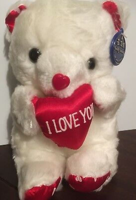 VALENTINES DAY White Teddy Bear Gift With Love Heart Soft Plush Toy