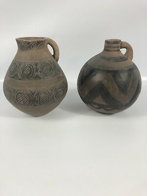 Chinese Neolithic Pottery Majiayao Stoneware Early Small Jars Pair Lot