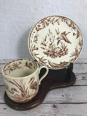 Ridgways Indus Pattern 1877 Date Espresso Cup & Saucer Aesthetic Movement 4L