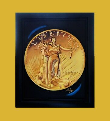 1933 St. Gaudens $20 Gold Double Eagle☆Original Oil Painting Framed ☆ Very Rare
