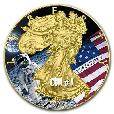 2019 1 Oz Silver $1 APOLLO 11 MOON LANDING EAGLE Coin WITH 24K GOLD.  COA # 1