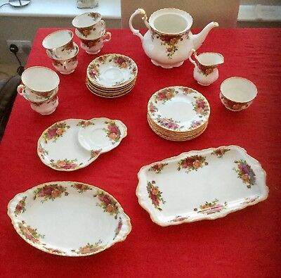 Royal Albert Old Country Roses Tea Set Good cond Platters Tea and biscuit plate