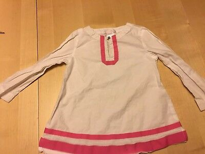 Janie And Jack Smock Style Blouse With Ribbon Accent, 2T, White, See Notes