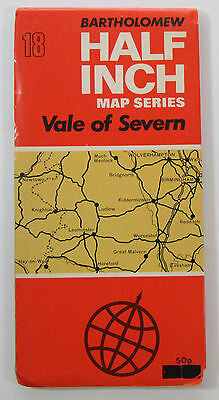 1973 old vintage Bartholomew's half-inch map series 18 Vale of Severn - Paper