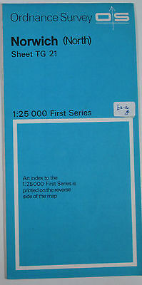 1973 old OS Ordnance Survey 1:25000 First Series map TG 21 Norwich (North)