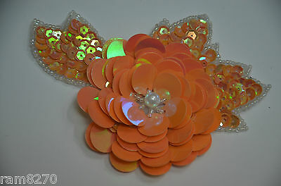 ORANGE Sequin Applique Embroidery Trimming Flower ROSE Ballroom Dance Gown