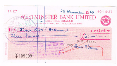 WESTMINSTER BANK Ltd cheque, issued 1963, The Broadway, LONDON.