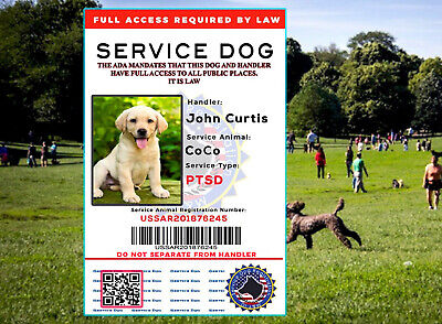 PTSD ADA ESA Service Dog Card ID Assistance Animal Badge FullyCustomized 2019