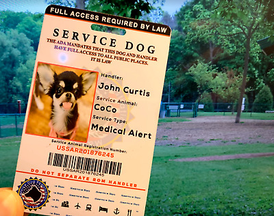 ADA ESA CUSTOMIZE EMOTIONAL SUPPORT THERAPY SERVICE DOG ID Card TAG 2019 Fast