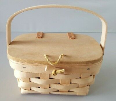 Longaberger Small Kiddie Basket Purse w/ Lid 1994 Unstained W/ Card & Protector