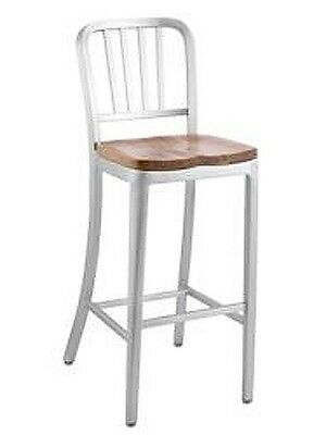 Aluminum Dining Barstool With Wood Seat