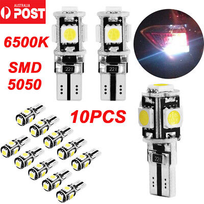 10PCS T10 Wedge 5SMD Parker Number Plate LED Bulbs W5W 194 168 131 WHITE
