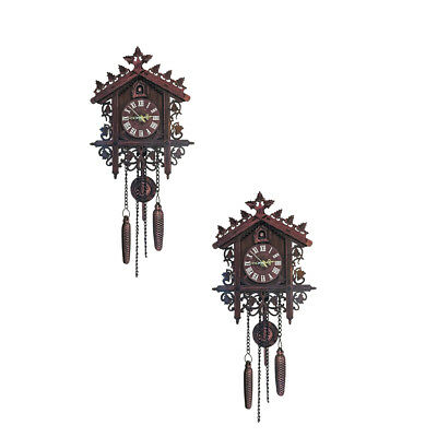 2Pcs Retro Wood Cuckoo Wall Clock with Pendulum~Deep Alarm Watch Decorations