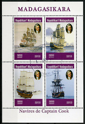 Madagascar 2019 CTO Captain James Cook Voyages 4v M/S Boats Ships Stamps