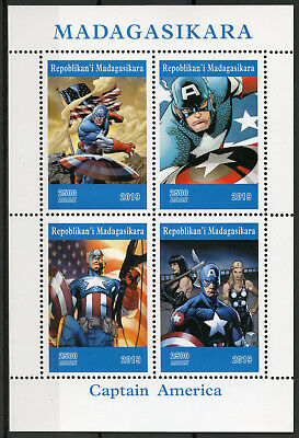 Madagascar 2019 MNH Captain America 4v M/S Comics Marvel Superheroes Stamps