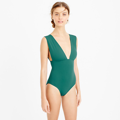 47fb9496953 NWT J. Crew Women's Plunge V-Neck One-Piece Swimsuit - Brilliant Emerald