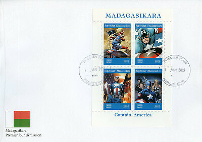 Madagascar 2019 FDC Captain America 4v MS Cover Comics Marvel Superheroes Stamps