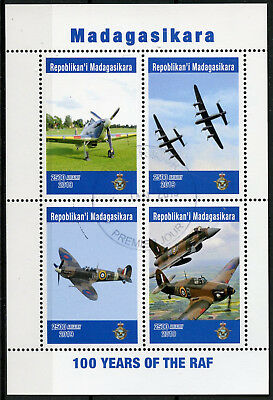 Madagascar 2019 CTO RAF Royal Air Force 100 Years 4v M/S Aviation Stamps