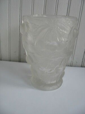 "VTG Barolac Art Deco Frosted Glass Vase Relief Cherries Josef Inwald 7"" CZECH"