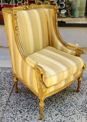 Museum ANTIQUE 19th Century FRENCH Louis XVI GILT CARVED Bergere ARM CHAIR Gold