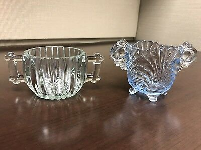 Lot Of 2 Vintage Misc Sugar Bowls Clear Blue Green