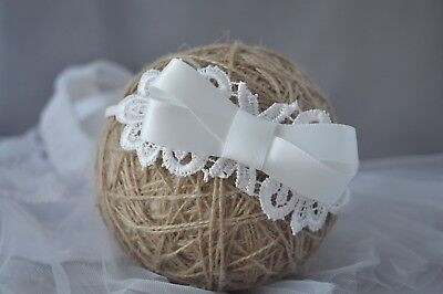 Newborn satin bow headband ivory lace bow baptism wedding flower girl handmade