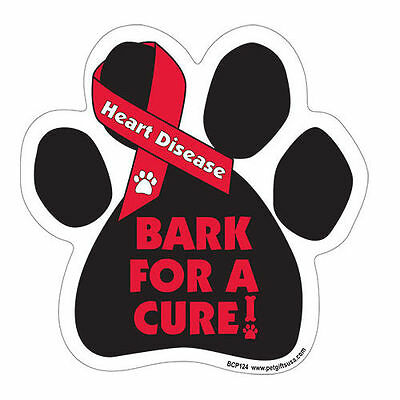 Bark For A Cure Heart Disease Awareness Dog Paw Car Magnet