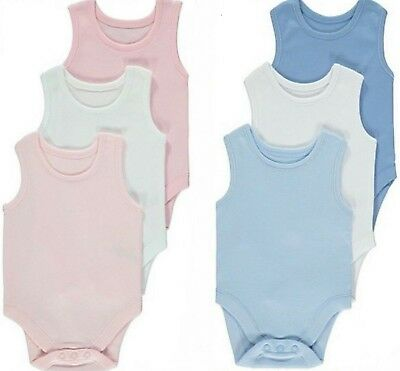 BABY BOYS GIRLS George 3 Pack Sleeveless Vests  Bodysuits Age 3 - 24 months