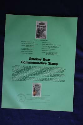 Smokey Bear 20c Stamp FD Souvenir Page Sc#2096 SP654 Forest Fire Prevention