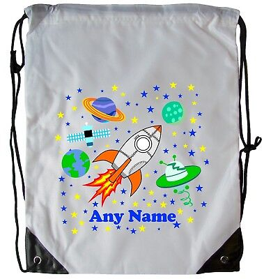 Personalised Space Rocket Drawstring Gym Bag School Pe Swimming Dance Football