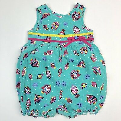 Vtg 80s Thomas Toddler Sleeveless One Piece Romper Blue Fish 2T