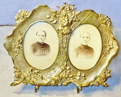 Antique Ornate Brass Double Photograph-Picture Frame-Vtg Photos-Victorian Style