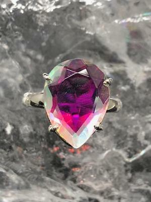 Angel Aura Crystal Faceted Sterling Silver Ring ~ Size UK P