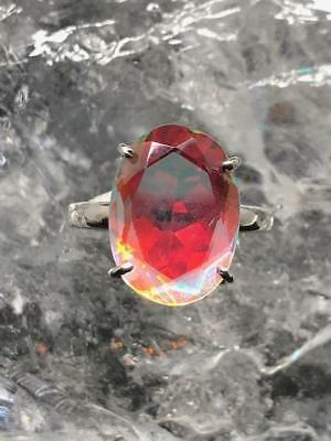 Angel Aura Crystal Faceted Sterling Silver Ring ~ Size UK N 1/2