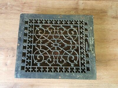 Antique 19th century Ornate Heat Register Cast Iron Wall Floor Grate Heat Vent