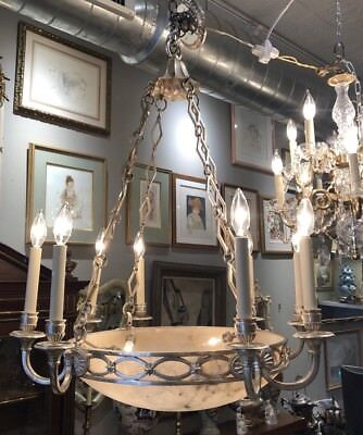 Antique Silver Plated Alabaster Pagoda Top Classical Dining room CHANDELIER