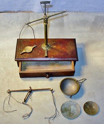 2 Antique-Vintage Apothecary-Gold Balance Scales-Box With Storage Drawer