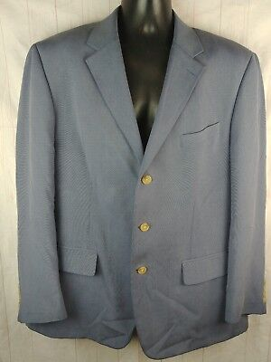Nautica Mens Gray/Blue 100% Silk Blazer Sport Coat Jacket Sz 44R