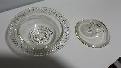 Lovely vintage clear glass butter  / jam dish